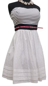 B. Darlin short dress White/Navy/Hotpink Eyelet Belted on Tradesy