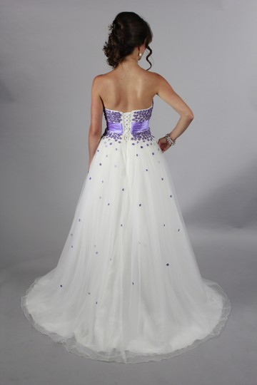Lace Satin Handmade Sweetheart Neckline Backless Litte Purple Modern Wedding Dress Size 4 (S)