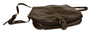 Perlina Black Leather Saddle Messenger Cross Body Buttery Smooth Vintage Messenger Bag