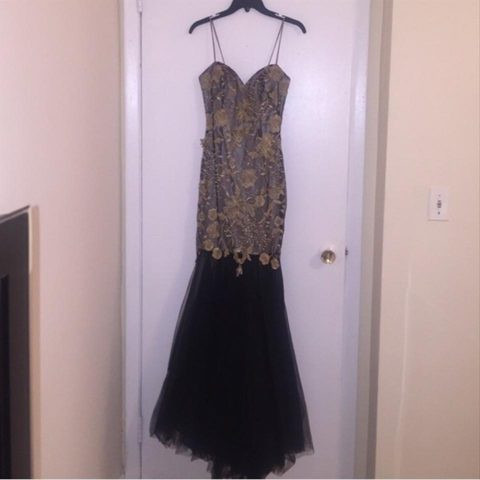 Black And Gold. Sheer Black Bottom Gown Dress - Tradesy