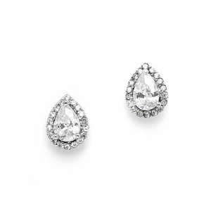 Mariell Top-selling 1/2 Ct. Cz Pear-shaped Studs With Pave Frames 4507e-s