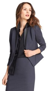 Elie Tahari Bianca Navy Jacket with Black Leather Lapels