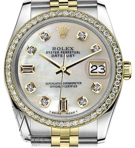 Rolex Mens Rolex 36mm Datejust Tone White Mop Mother Of Pearl Diamond Dial Watch