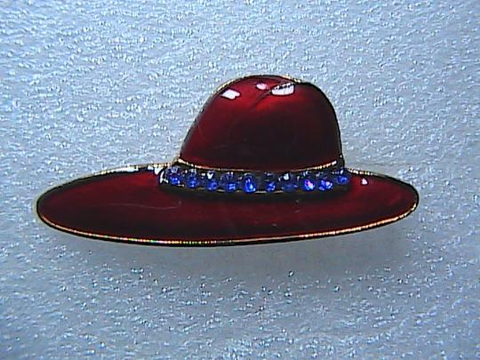 Vintage The 80's fashion RED HAT Brooch