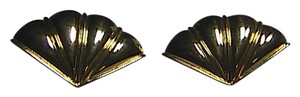 Vintage Monet Gold Tone Clip On Fan Earrings