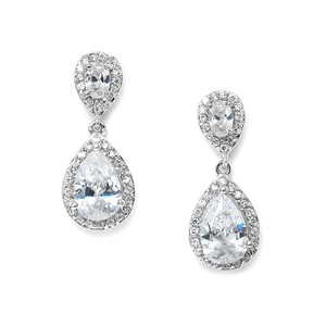 Ultra Glam Petite Crystal Pear Drop Bridal Earrings