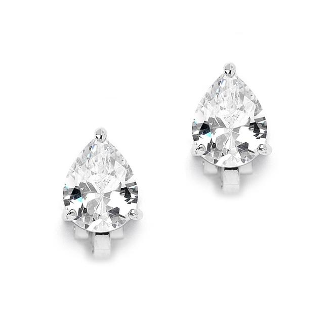 Item - Silver 2.00 Ct. Cubic Zirconia Pear Shape Rhodium Clip-on For Or Bridesmaids 3989ec-s Earrings