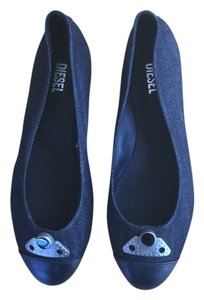 Diesel Denim Leather Black Flats