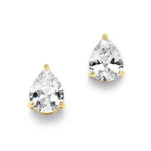 Mariell 2.00 Ct. Cubic Zirconia Pear Shape Stud Gold Earrings For Weddings Or Bridesmaids 3989e-g