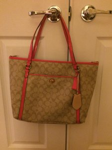 Coach Tote in cranberry and beige