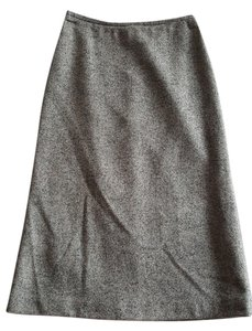 French Connection Tweed Wool Midi Skirt Charcoal gray and taupe