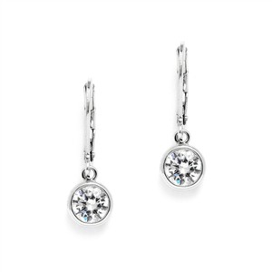 Mariell 1.0 Carat Bezel Set Cz Drop Bridal Earrings 4501e-s