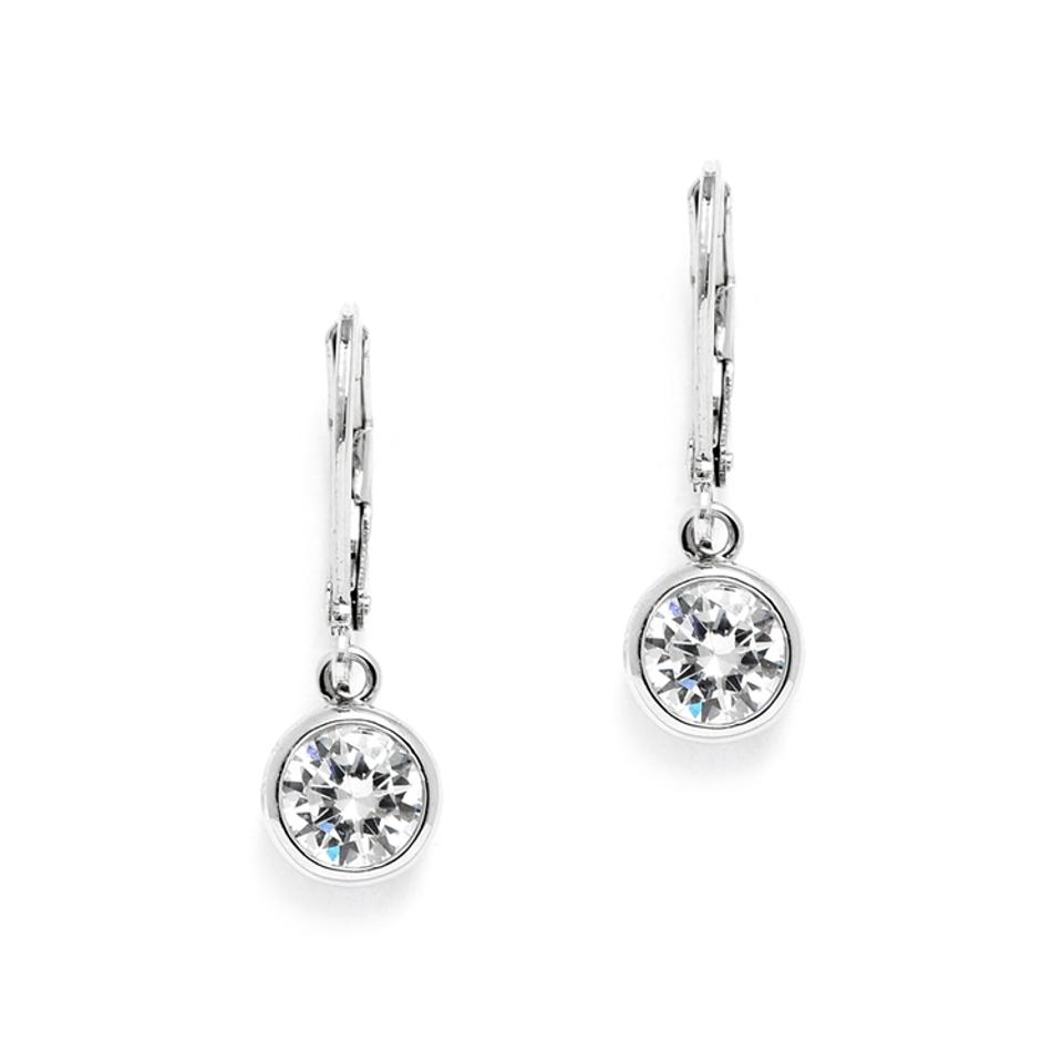 Mariell Silver 1 0 Carat Bezel Set Cz Drop 4501e S Earrings