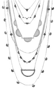 Lucky Brand 60% OFF! BRAND NEW Lucky Brand Silver-Tone Crystal Long Statement Necklace