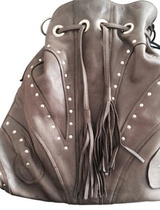 Le'Bulga Genuine Leather Drawstring Gold Studs Tassels Hobo Bag
