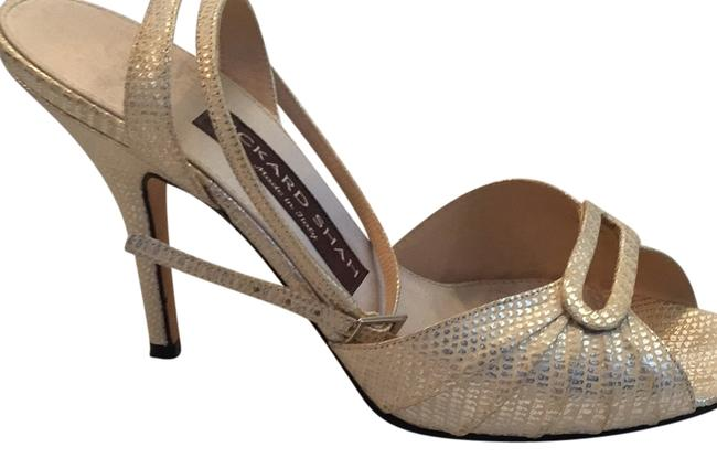 Item - Silver and Ivory Rickard Shah Strappy Heels Pumps Size US 9 Regular (M, B)