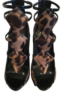 Brian Atwood Black leather and animal print skin/fur Platforms