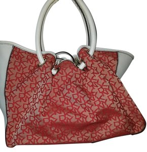 DKNY Satchel in Red and Beige