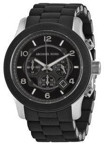 Michael Kors Silver Stainless Steel Black Silicone Oversized Unisex Designer Casual Watch