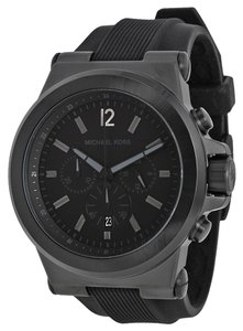 Michael Kors Black Ion Plated Stainless Steel Rubber Strap Sport Style Men's Watch