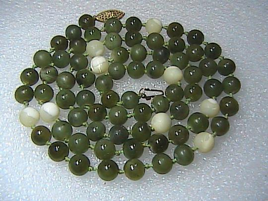 Vintage 14k Yellow Gold Pearl & Jade Necklace Image 1