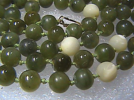 Vintage 14k Yellow Gold Pearl & Jade Necklace Image 5