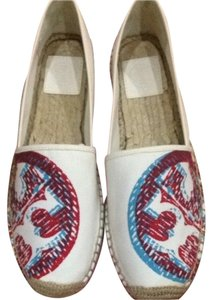 Tory Burch Off White with color logo Flats