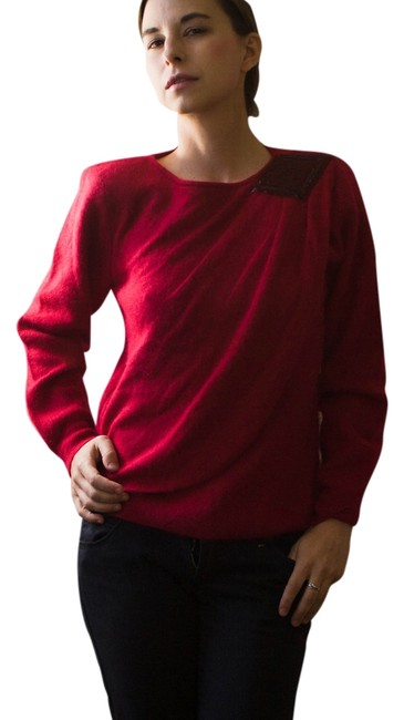 Item - Vintage 1980s Angora and Wool Applique Burgundy Red Sweater