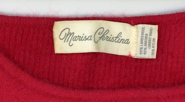 Marisa Christina Angora Wool Vintage 1980s 1970s 70s Applique Lambswool Beaded Shoulderpads Fall Spring Warm Disco Oxblood Gathe Sweater