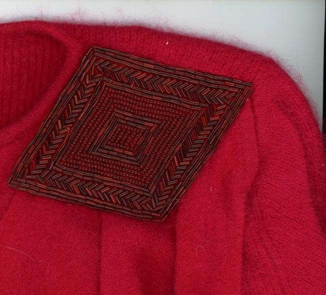 Marisa Christina Angora Wool Vintage 1980s 1970s 70s Applique Lambswool Beaded Shoulderpads Winter Fall Spring Warm Disco Oxblood Sweater