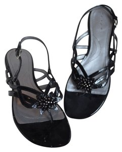 Tahari Beaded Black Patent Leather Sandals
