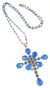 Rivka Friedman Rivka Blue Poppy Crystal Cross Necklace
