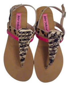 Betsey Johnson Animal Print & Hot Pink Sandals