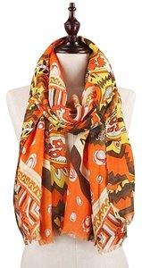 Other Frayed Edge Abstract Print Herringbone Weaved Scarf