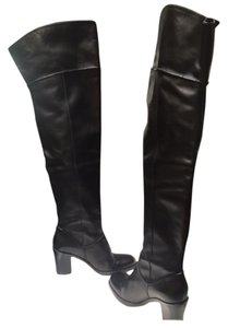 Via Spiga Over The Knee Stacked Heel Black Boots