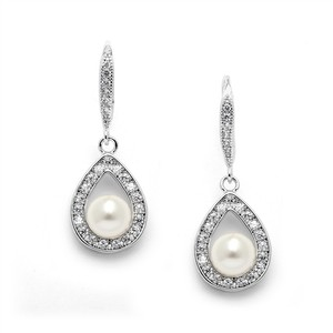 Mariell Best-selling Pave Cz Wedding Earrings With 5mm Pearls 4502e-i-s