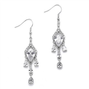 Mariell Brilliant Cz Pear Chandelier Earrrings With Bezel Set Teardrops 4503e-s