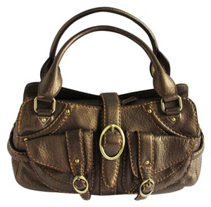 Cromia Handbags Leather Medium Leather Satchel in Bronze