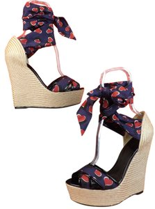 Gucci Navy Blue/Red/Black Sandals