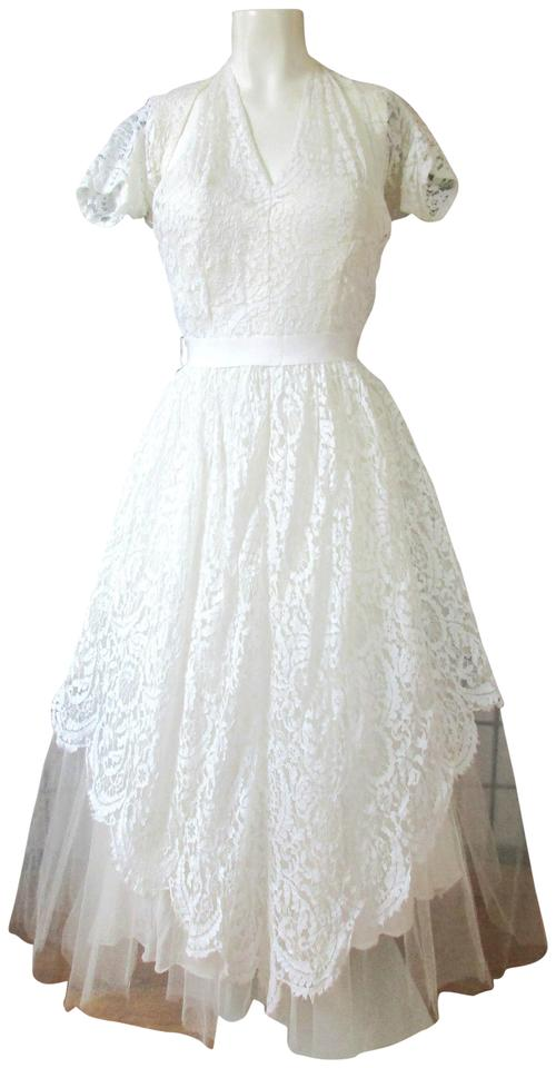 White Lace 1940s 1950s Vintage Wedding Dress Size 2 (XS) - Tradesy
