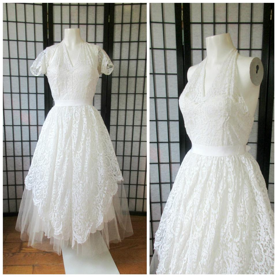 Vintage Wedding Dress Xs: White Lace 1940s 1950s Vintage Wedding Dress Size 2 (XS