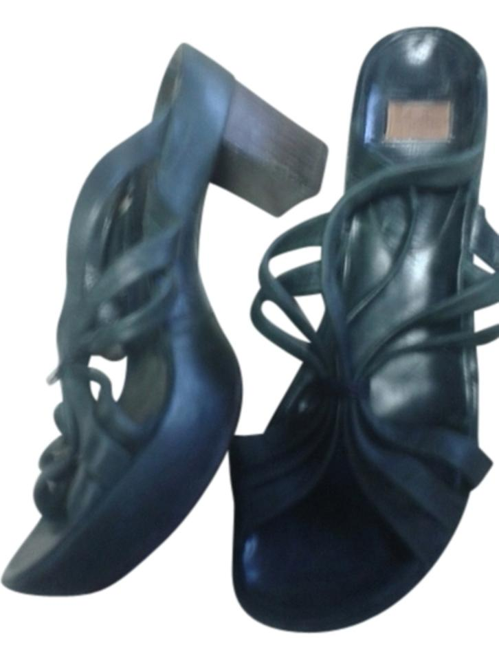 Dark Platform Blue In Spain Leather Platform Dark Mules/Slides 302678