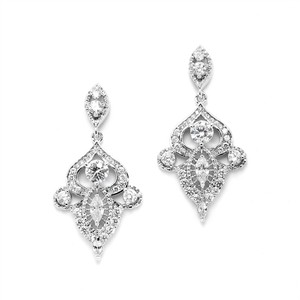 Mariell Intricate Art Deco Cz Dangle Bridal Statement Earrings 4504e-s