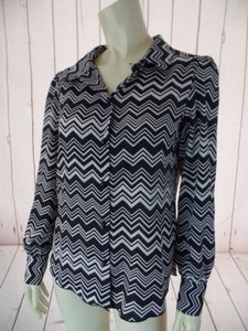 Missoni for Target Zigzag Poly Button Front Cuff Sleeves Hot Top Black White