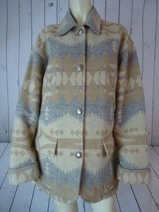 Ralph Lauren Coat Southwest Indian Wool Blend Unlined Muted Gray Beige Jacket
