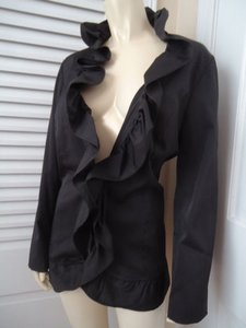 Cynthia Rowley Cynthia Rowley Blazer Coat Black Cotton Poly Stretch Hook Eye Ruffle Front