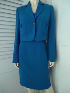 Calvin Klein Calvin Klein Suit Polyester With Tags 320 Blueberry Sheath Cropped Blazer
