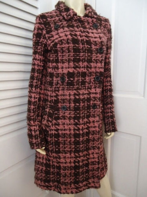 Item - Coat Long Retro Mod Wool Blend Brown Pink Tweed Double Breasted Chic