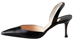 Manolo Blahnik Carolyne Leather Slingback Black Pumps