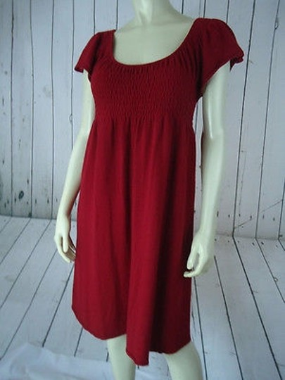 Anthropologie Moth Sweater Dress Red Rayon Cotton Cashmere Angora Soft Stretch Knit Peasant high-quality